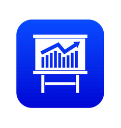 Growing chart presentation icon digital blue vector