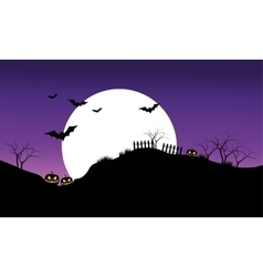 Halloween bat on purple sky backgrounds silhouette vector image