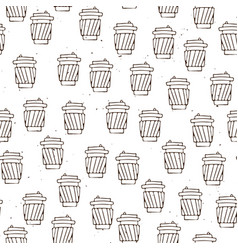 hand draw coffee cup pattern coffee take vector image