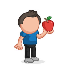 hand-drawn cartoon of man standing holding apple vector image