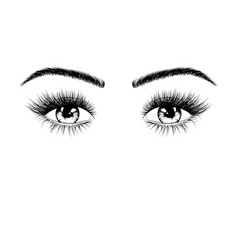 hand drawn female eyes silhouette eyes with vector image