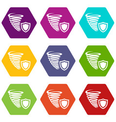 hurricane protection icons set 9 vector image