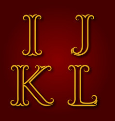 i j k l golden vintage letters with shadow vector image