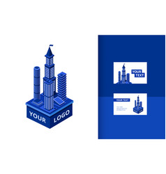 isometric modern skyscraper banner set vector image