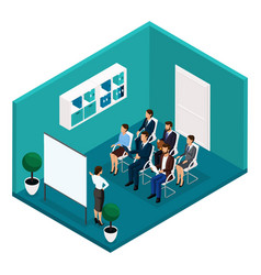 isometric training room front view coaches vector image