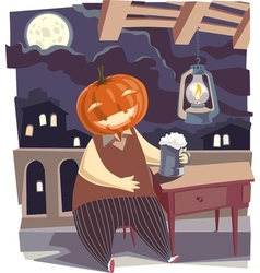 Jack O Lantern with a Pint of Beer vector
