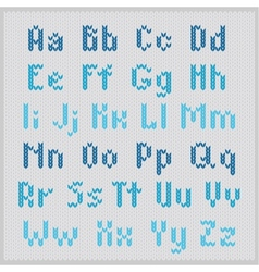 Knitted alphabet blue small sans serif vector image