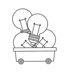 lightbulbs in wagon icon vector image