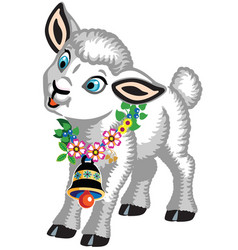 Little sheep with bell vector
