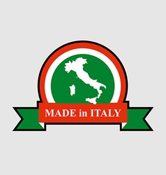 Made in Italy product logo Map of Italy and Ribbon vector image
