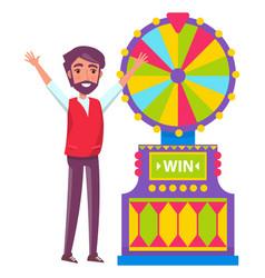 Man spinning fortune wheel lucky gambler gambling vector