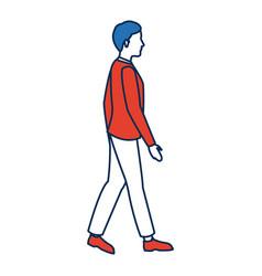 Man wear suit walking side view vector