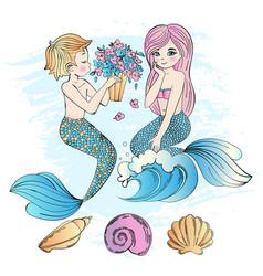 Mermaid bouquet sea underwater party vector