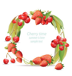 mixed cherry and berry wreath frame design vector image