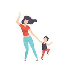 Mom and son dancing kid having fun with her vector