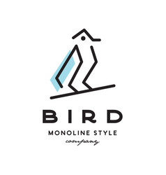 monoline bird logo vector image