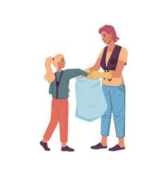 mother daughter volunteers gathering litter in bag vector image