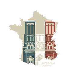 notre dame de paris cathedral in colors the vector image