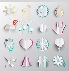 paper cut symbols origami icons vector image