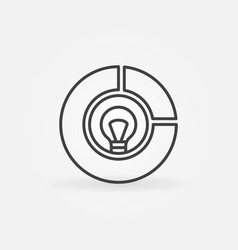 pie chart with bulb inside icon in thin vector image