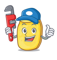 Plumber potato chips mascot cartoon vector