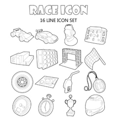 Race icons set in outline style vector image