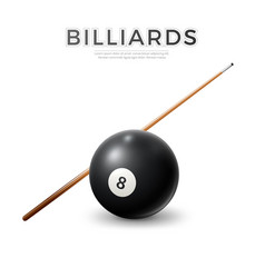 realistic billiard snooker pool ball cue vector image