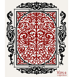 Red and black ancient vintage ornament on white vector