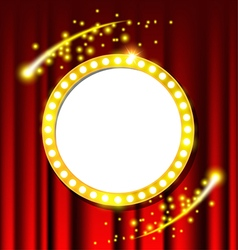Retro light circle sign and red curtain vector
