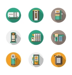 Round flat style gas station icons vector image