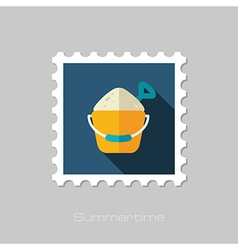 Sand Bucket and Shovel flat stamp Vacation vector