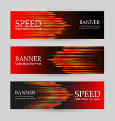 set horizontal dark red banners with glowing vector image