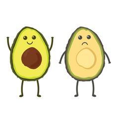 Set with cartoon avocado vector
