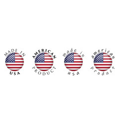 simple made in usa american product 3d button vector image