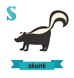 Skunk S letter Cute children animal alphabet in vector image