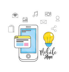 smartphone apps technology social media vector image vector image
