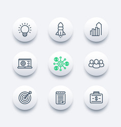 startup line icons set product launch development vector image
