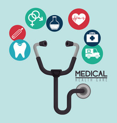 stethoscope with medical healthcare icons vector image