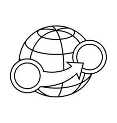 transfer around world earth globe sign vector image