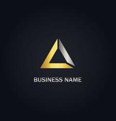 triangle shape gold company logo vector image