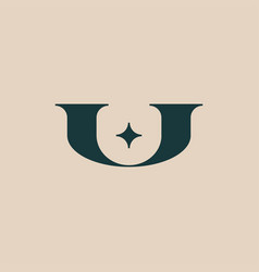 u star letter mark initial logo icon vector image