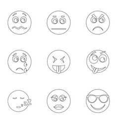 Visage icons set outline style vector