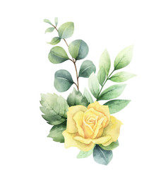 watercolor hand painted clipart with green vector image