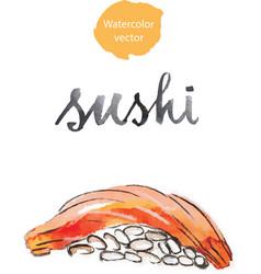 watercolor sushi vector image