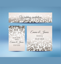 Wedding invitation cards with bokeh lights vector