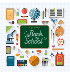 Welcome back to school flat concept background vector