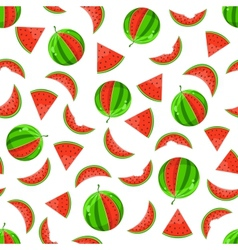whole and sliced watermelon seamless pattern vector image