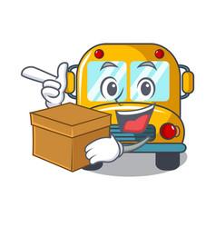with box school bus character cartoon vector image