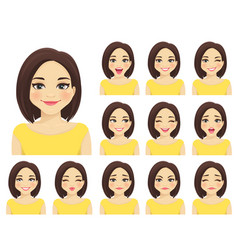 woman expressions set vector image