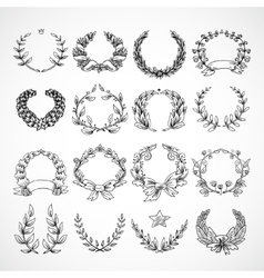 Wreath Heraldic Icons Set vector image